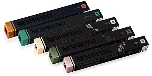 50 Nespresso Capsules: 10 Indriya, 10 Livanto, 10 Rosabaya de Colombia , 10 Dulsão do Brasil , 10 Fortissio Lungo - NOT compatible with Vertuoline
