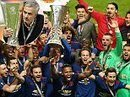 Manchester United celebrate their Europa League heroics