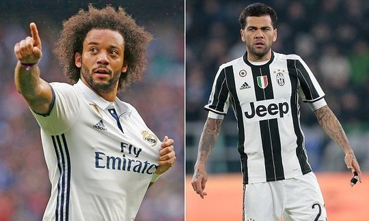 Marcelo and Dani Alves preparing to light up Champions League final